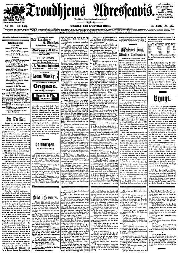 The front page of the norwegian newspaper Adresseavisen (1905)  By Adresseavisen (Trondhjems Adresseavis) (The Norwegian National Library) [Public domain], via Wikimedia Commons