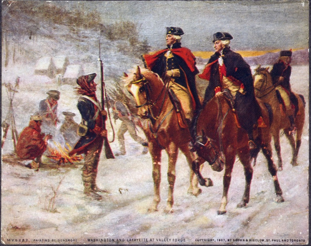 Washington and Lafayette look over the troops at Valley Forge. [public domain]