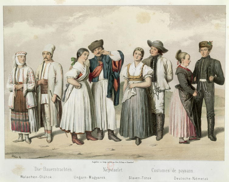 Costumes of Peasants from Romania, Hungary, Slovakia and Germany,  from 'Esquisses de la Vie Populaire en Hongroie' by Gabriel de Pronay, 1855 (colour litho); Bibliotheque Nationale, Paris, France [public domain]