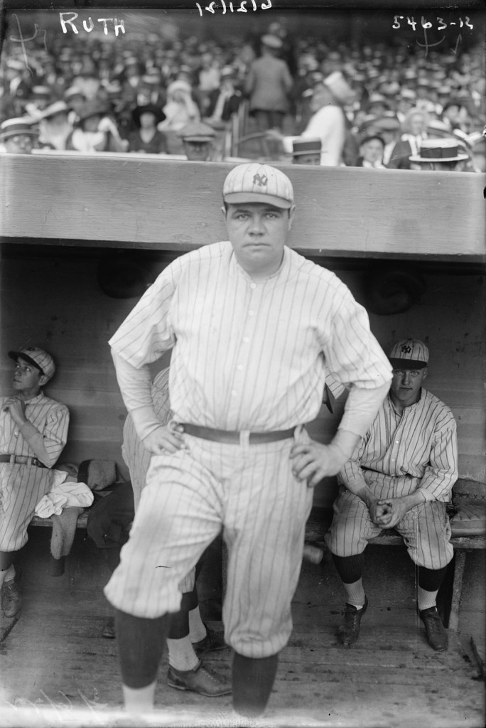 Gotta' pay those nickels to see them knuckles! 'Babe Ruth in 1921,' [public domain]