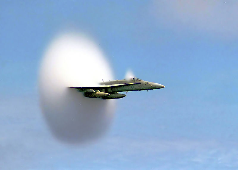 U.S. Navy F/A-18 within the sound barrier By Ensign John Gay, U.S. Navy [Public domain], via Wikimedia Commons