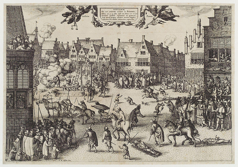The execution of Guy Fawkes' By Claes (Nicolaes) Jansz Visscher [Public domain], via Wikimedia Commons
