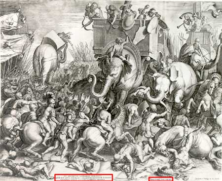 Engraving of the Battle of Zama by Cornelis Cort, 1567 [public domaine]