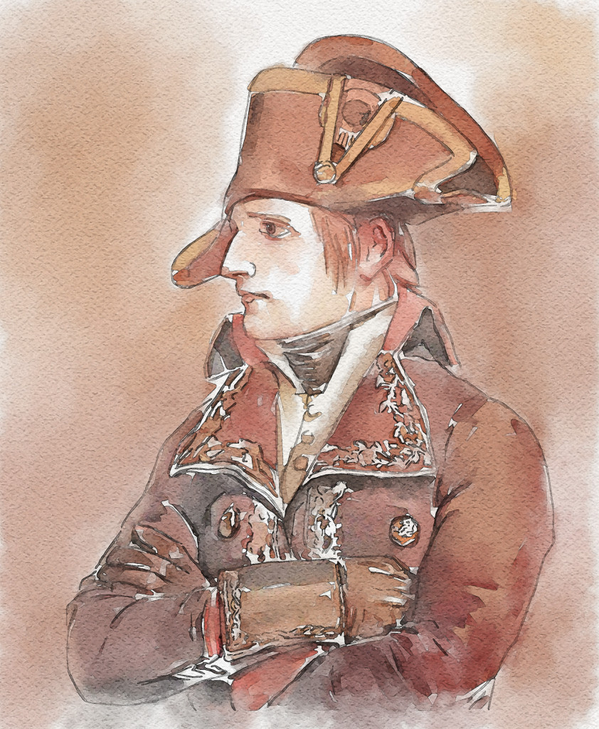 """Creative commons, Napoléon Bonaparte, 1798""  digital watercolor from painting by Édouard Detaille by Now Idonoa /CCBY"