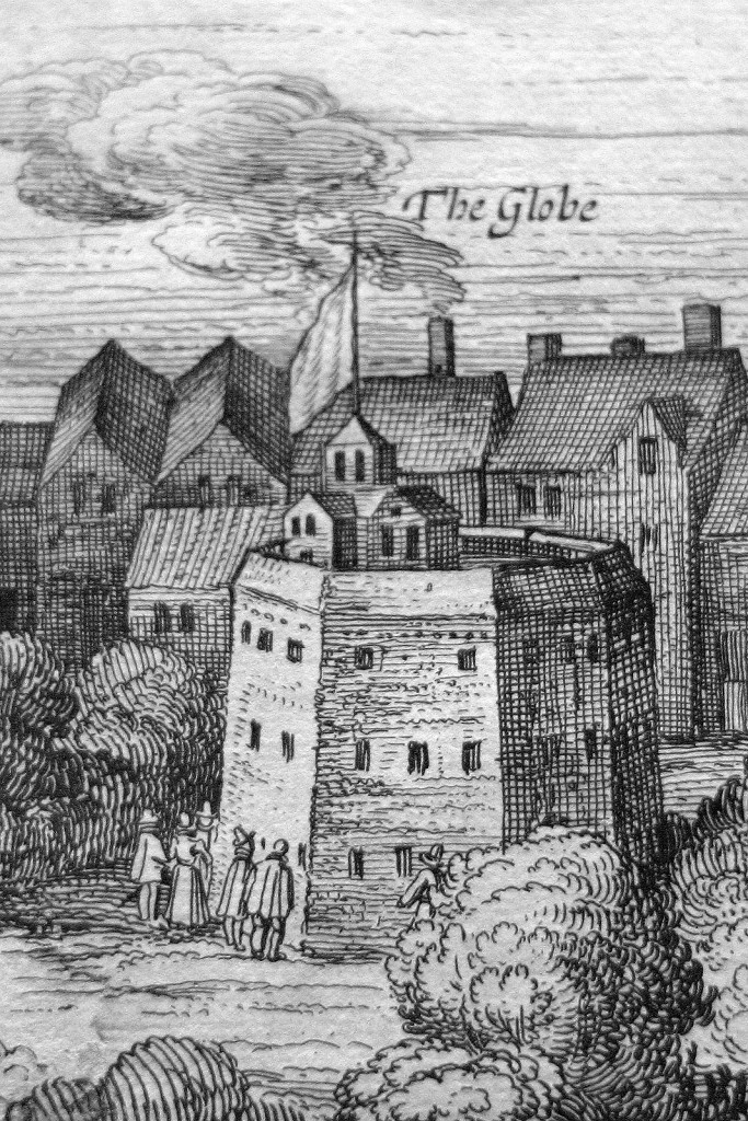 """Globe Theatre, circa 1616"" - Detail from van Visscher's original panorama, circa 1616."