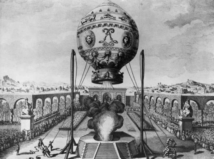 """Other than that how was the flight?  """"Ascension captive d'une montgolfière (Jean-François Pilâtre de Rozier) dans les jardins de la papèterie Réveillon, le 19 octobre 1783."""" Claude-Louis Desrais [Public domain], via Wikimedia Commons"""